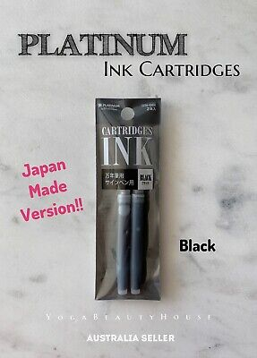 Platinum Ink Cartridge BLACK 2pcs (Fountain Pen calligraphy art preppy blue draw
