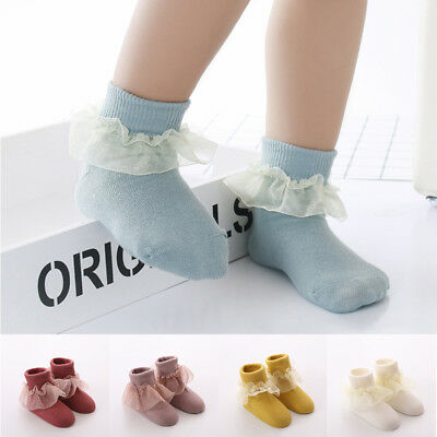 Baby Girls Toddler Lace Ruffle Frilly Ankle Socks Princess Anti Slip Tutu Socks