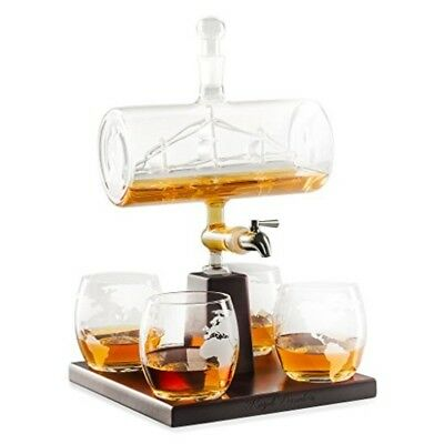 Glass Liquor Dispenser Whiskey Decanter Set Wine Tequila Rum Alcohol Beverage