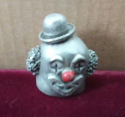 New old stock 1980 Spoontiques BoBo The Clown head pewter thimble mint condition