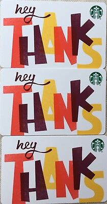 "Lot 3 Starbucks ""hey THANKS"" 2018 Recycled Paper Edition gift card set NEW"