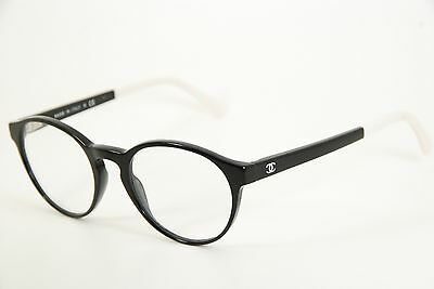 f75d1ff563b New Authentic Chanel 3231 c.501 Black White 49mm Round Eyeglasses RX Italy