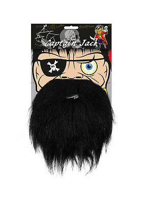 PIRATE BEARD CAPTAIN JACK Kids Black on Elastic Fancy Dress Accessory Party