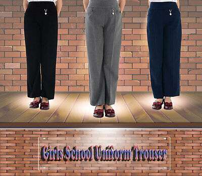 Girls School Uniform Trouser With Front Heart Buckle Black Grey Navy