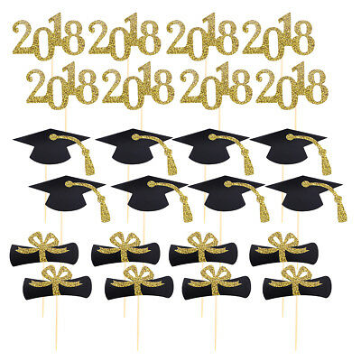 48Pcs Graduation Cupcake Toppers Cake Fruit Toothpick Toppers Party Decorations