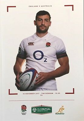 ENGLAND V AUSTRALIA  2017 RUGBY UNION  PROGRAMME , Wallabies Rugby, Jonny May