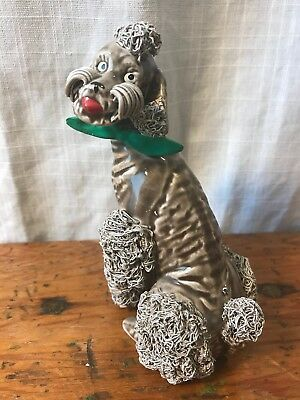 "Vintage Gray Spaghetti Poodle Dog Green Bow Porcelain Figurine 5.5"" Japan Ball"