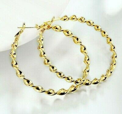"""Eternity Gold Twisted Hoop Earrings in 14K Gold plated 2"""" INCHES Large ITALY"""