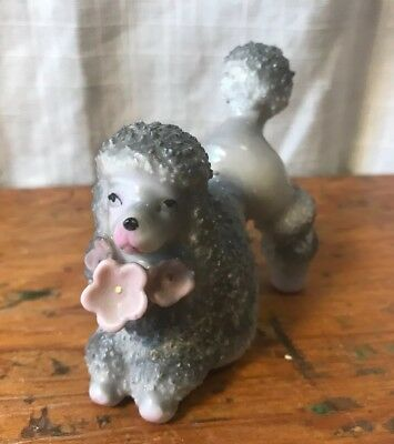 Vintage Small Gray Spaghetti Flocked Poodle Dog Figurine Pink Flowers Japan 3""
