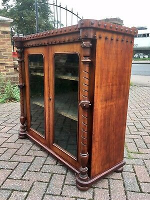 Antique Victorian Glazed mahogany Bookcase Library Display Cabinet