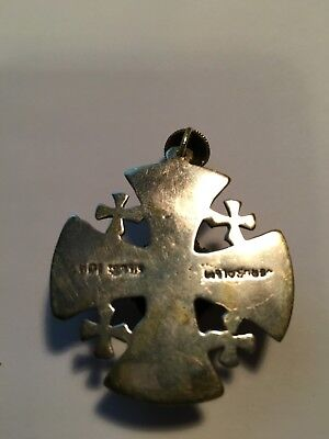 Antique Maltese CROSS Jerusalem HOLY LAND vtg 925 silver Pendant Necklace GREEN