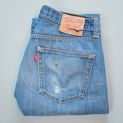 Vintage Levi 501 Jeans Red Tab Blue Straight Button Fly (Patch W33L34) W 31 L 33