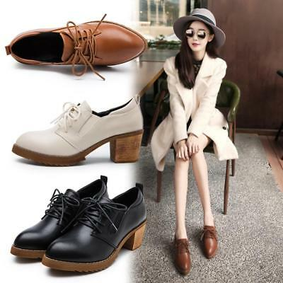 Womens Smart Party Low Mid Heel Lace Up Oxford Brogue School Office Work Shoes