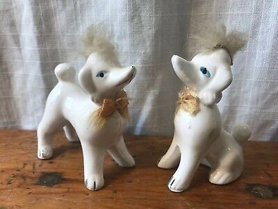 Vintage Set of 2 White Poodle? Dog Figurine Fur Hair Gold Bow Blue Eyes Japan?