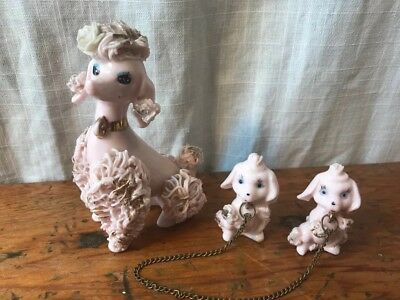 Vintage Pink Spaghetti Poodle Dogs Mom & Puppies Gold Trim White Rose Japan 4.5""