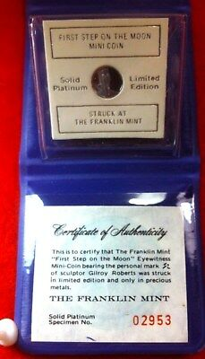 1.4grams PLATINUM FIRST STEP ON THE MOON 1972 COIN 10MM SEE PHOTO READ ALL