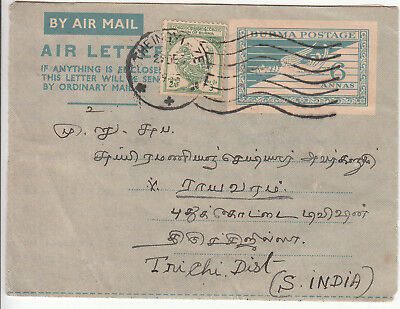Burma: Air Letter, Theingyi to inichi District, South India, 29 December 1955