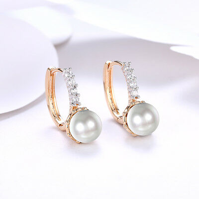 14K Yellow Gold Plated Pave Crystals Fresh Water Pearl Leverback Earring Italy