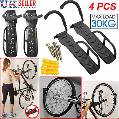 4x Steel Bike Bicycle Storage Wall Mounted Mount Hook Rack Holder Hanger Stand E