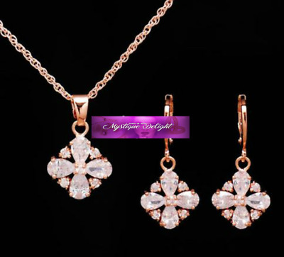 Ladies Gold Crystal Rhinestone Pendant Necklace Drop Dangle Earrings Set Wedding