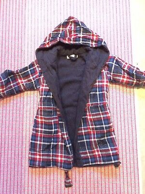 The Little White Company - Boy Checked with Navy Blue inner towelling lining