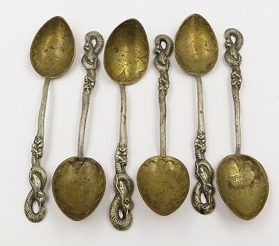 """Vintage """"Nagasaki 84"""" Silver Spoons with Rate & Snake Handle 93.29g 5"""" Lot of 6"""