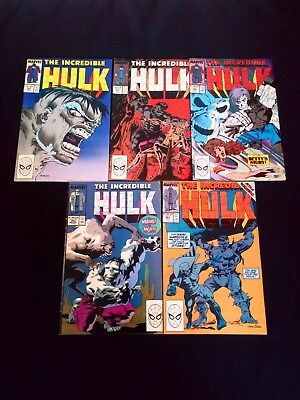 The Incredible Hulk Comic's x 5 Vintage Marvel Small Joblot/Bundle 1989