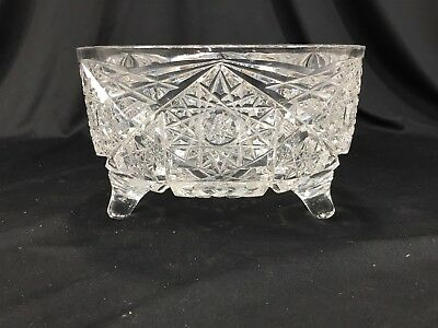 Vintage Heavy Crystal Footed Candy Dish Wedding Gift Clear Glass 7""