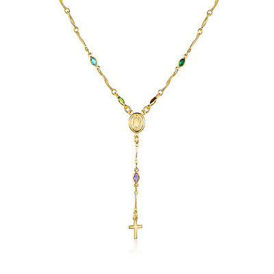 """18K Gold Plated 18"""" Multi Color Crystal Rosary with Virgin Mary and Cross Charm"""