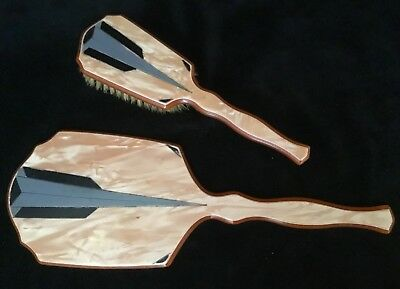 Art Deco Brush And Mirror Set In Marbellized Celluloid In Peach And Gray