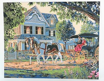 COMPLETED PAINT BY NUMBER PAINTING Victorian House Horse & Carriage Buggy 16x20