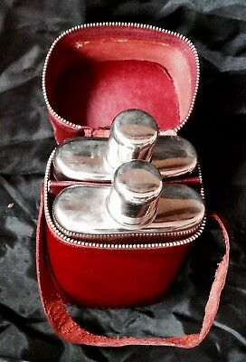 Vintage Pair Of Travelling Hip Flasks, Shot Tops, Ox Blood Red Leather Hide Case