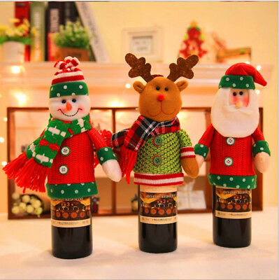 Christmas Wine Bottle Cover Wrap Knit Sweater Cap Party Dinner Table Ornament AU