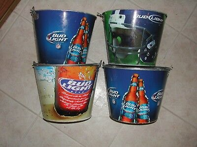 FOUR USED BUD LIGHT BEER BUCKETS -Budweiser