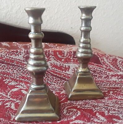 """Price Reduced! Vintage Pair Of Miniature Brass Beehive Candlesticks 2-1/2"""" T"""