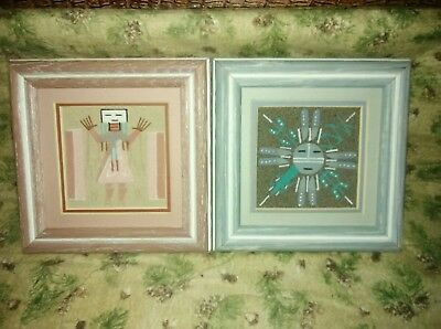 2 Handmade Native American Indian Original Navajo Sand Painting Pair - Signed