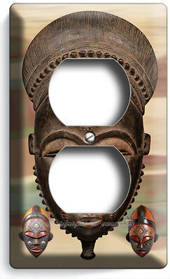 African Ancient Warrior Tribal Retual Mask Outlet Wall Plate Room Home Art Decor
