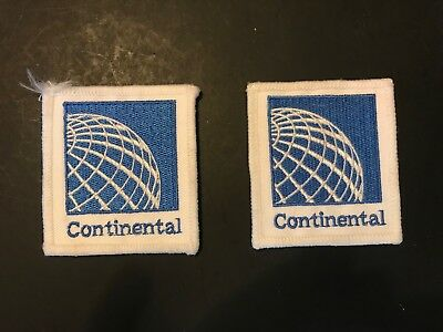 Vintage Pair of Continental Airlines Jacket Cloth Patches Badges Unused