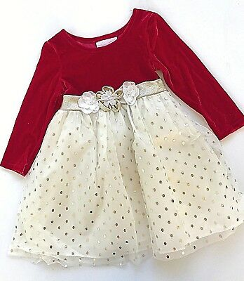 10c1cb781 BONNIE BABY Girl's RED Velvet Christmas Holiday Dress Size 24mo Ivory Gold  Dot