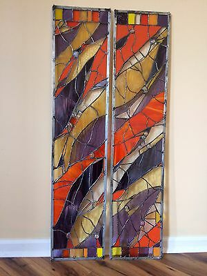 Abstract Stained Glass Window Transom Panel  Contemporary  ( Set of 2)