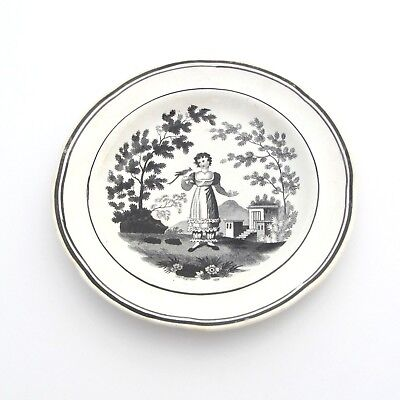 "Antique Black Transferware Plate 7"" English Featuring Lady and Bird"