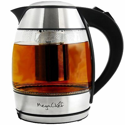 MegaChef 1.8Lt. Glass and Stainless Steel Electric Tea Kettle with Tea Infuser