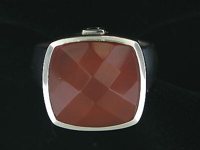 Estate Authentic Elle Sterling Silver Carnelian Ring with Signature Created Ruby