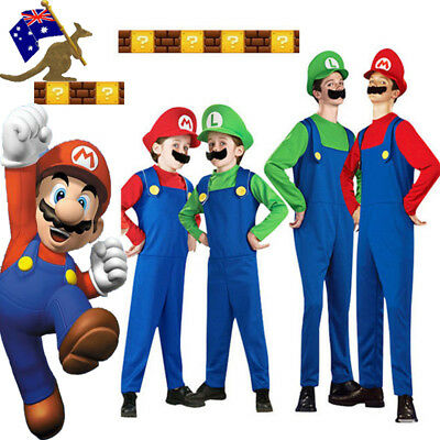 Mario and Luigi Costumes Kids Adults Super Mario Brothers Halloween Fancy Dress