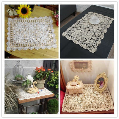 Rectangle Tablecloth Vintage Crochet Cotton Lace Table Cloth Cover Pad 15x23inch