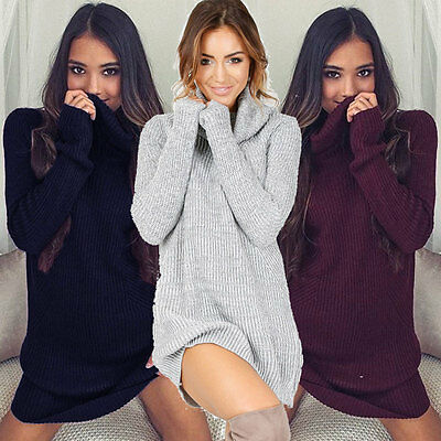 Women's Loose Knitted Pullover Jumper Sweater O Neck Long Sleeve Knitwear Top US