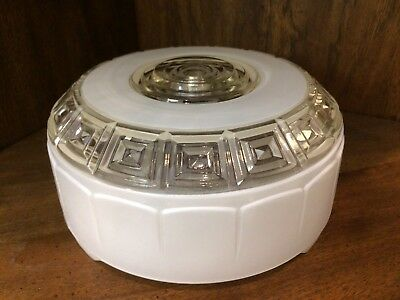 "Vintage 8"" White Clear Art Deco Glass Ceiling Round LIGHT SHADE 1940s NICE !!"