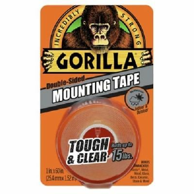 "Gorilla Glue, 1"" x 60"", Clear, Double Sided Heavy Duty Gorilla Mounting Tape 15#"