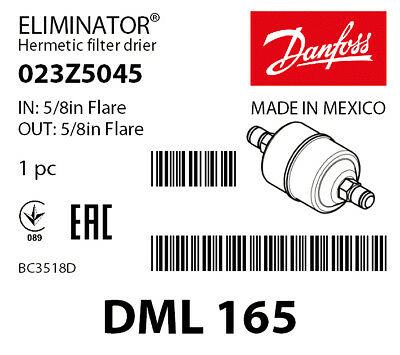 Danfoss Eliminator Liquid Line Filter Drier DML163 023Z5043
