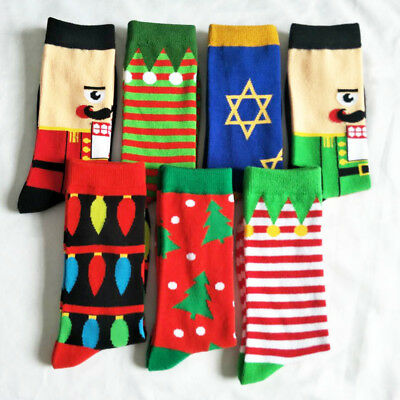 NEW Mens Combed Cotton Socks Warm Soft Christmas Design Funny Casual Dress Socks